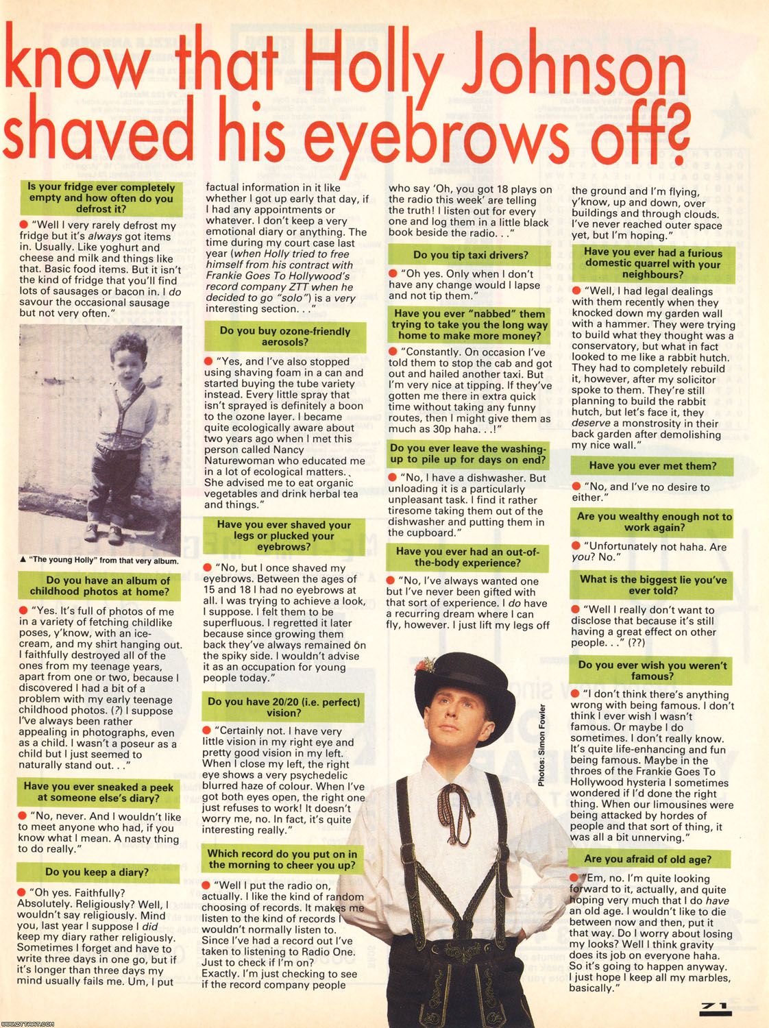 Did you know that Holly Johnson once shaved this eyebrows off